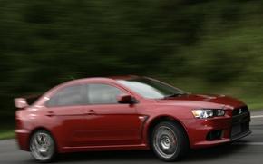 Picture red, blur, mountain climb, Mitsubishi Lancer Evo X