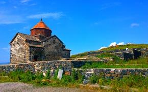 Picture the sky, the city, stones, Church, Armenia, Sevanavank, Sevan