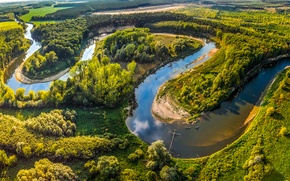 Picture field, Morava, trees, panorama, Straznice, greens, Czech Republic, summer, the sun, river, forest