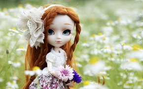 Picture flowers, nature, toy, doll, dress, red, bow, braids
