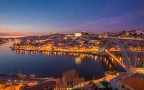 Wallpaper bridge, the city, lights, river, dawn, Portugal, Porto