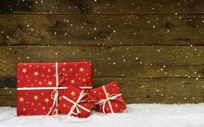 Picture New Year, Christmas, Christmas, wood, snow, decoration, gifts