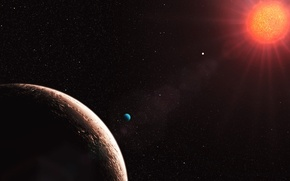 Picture star, planet, satellite, red