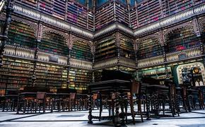Picture style, books, tables, library, Brazil, Rio de Janeiro