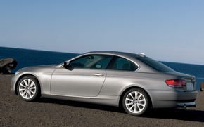 Picture sea, stone, BMW, Coupe
