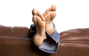 Picture jeans, sofa, feet