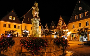 Picture night, lights, home, Germany, area, fountain