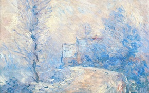 Picture winter, landscape, picture, Claude Monet, The entrance to Giverny under the Snow