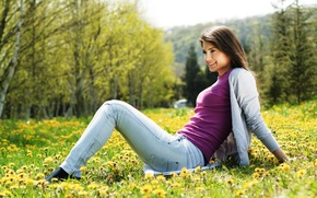 Picture trees, flowers, mountains, nature, smile, sweetheart, Girl, jeans, meadow, beautiful, dandelions