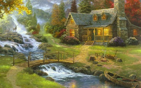 Wallpaper forest, nature, fog, house, river, boat, figure, guitar, picture, art, drawings, pictures, painting, deer, the ...