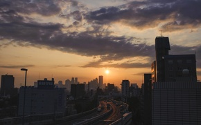 Picture Japan, road, cars, clouds, morning, dawn, Sunrise, buildings, highway, vehicles, Setagaya