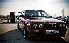 Wallpaper lights, tuning, BMW, exhibition, car, old, dark red, тouring, power, E30 M3, evil