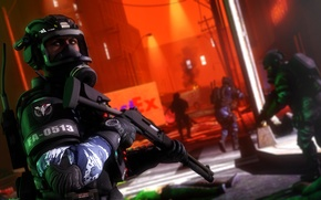 Picture night, the city, street, infection, soldiers, gas mask, zombie, infection, virus, resident evil, shotgun, fan …