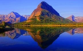 Picture autumn, forest, the sky, mountains, lake, reflection, Montana, USA, glacier national park