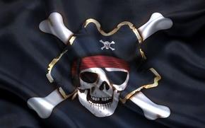 Picture skull, bones, pirate flag