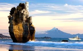 Picture sea, landscape, rock, creative, surrealism, mountain, yacht, the volcano, Castle, dolphins, rock, New Zealand, mount …
