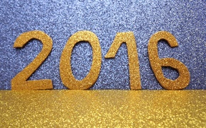 Picture watch, New Year, figures, golden, New Year, Happy, glitter, 2016