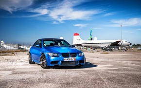 Picture blue, bmw, BMW, shadow, blue, the front, aircraft, e92