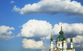 Picture cross, Kiev, clouds, the sky, the dome, the city, St. Andrew's Church