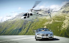 Picture Mountains, Rocks, White, BMW, Convertible, Helicopter, Grey, BMW, Zagato, The front
