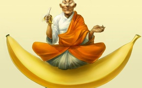 Picture mood, figure, bananas, yogi, asana