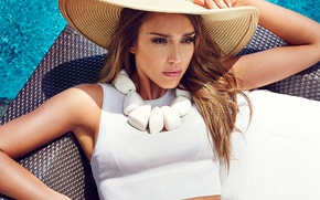 Picture woman, Jessica Alba, hat, actress