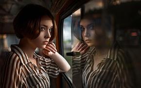 Picture reflection, window, Russia, the beauty, Olya, George Chernyadev, Olga Pushkina