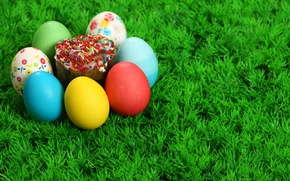 Wallpaper Grass, Easter, Eggs, Cake, The Resurrection Of Christ, Pascha