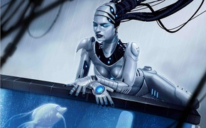 Wallpaper water, girl, rain, wire, robot, aquarium, fish, fish, art, Android