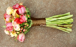 Picture flowers, yellow, red, green, pink, bouquet, beautiful, colors, Ranunculus