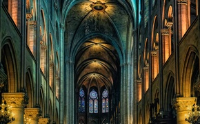 Wallpaper France, Paris, Cathedral, religion, Notre Dame de Paris, the nave