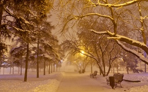 Wallpaper frost, snow, night, fog, shop, lantern, New year, garland, alley, square