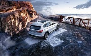 Picture car, rocks, coast, bmw x1