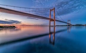 Picture the sky, clouds, sunset, bridge, Strait, reflection, the evening, Denmark, Denmark, Little belt bridge