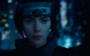 Picture Scarlett Johansson, cinema, wallpaper, robot, green eyes, woman, anime, night, short hair, movie, Ghost in ...