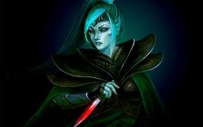Picture girl, weapons, blood, art, beauty, tail, dagger, blade, Dota 2, Phantom Assassin, Mortred, eksfo
