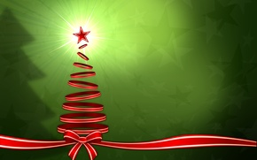 Wallpaper graphics, rays, holiday, tape, stars, winter, light, tree, Christmas, new year, new year, bow, christmas