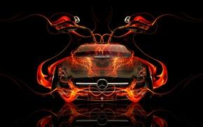 Picture Mercedes-Benz, Auto, Black, Fire, Machine, Mercedes, Wallpaper, Background, Orange, Door, Car, Fire, Art, Art, Abstract, …