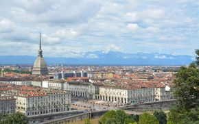 Picture the sky, bridge, river, home, Italy, panorama, quarter, Turin