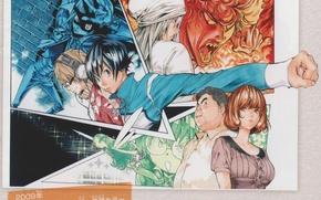 Picture headphones, glasses, drawings, manga, friends, fist, bakuman, art, moritaka mashiro, takeshi obata, akito takasi, shinta …