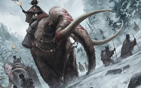 Picture winter, snow, people, art, rider, coloring, hike, tusks, mammoths