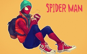 Picture hat, coffee, backpack, sneakers, Marvel Comics, Spider-Man, Peter Parker