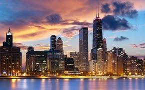 Picture city, river, home, the evening, Chicago, Chicago, promenade, skyscrapers, cloud.