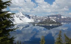 Picture reflection, island, ate, Oregon, Oregon, Crater Lake, Crater Lake National Park, Crater Lake