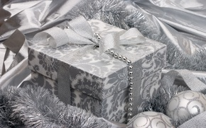 Picture holiday, gift, balls, black and white, toys, silver, new year, silver, tape, tinsel, bow, ribbon, ...