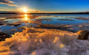 Picture ice, winter, nature, lake, dawn