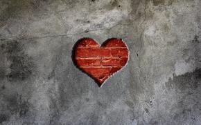 Picture wall, heart, brick, concrete