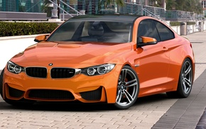 Picture BMW, orange, BMW, Orange, Photoshop, Coupe, F82, by dangeruss, 3D Studio MAX, Vray