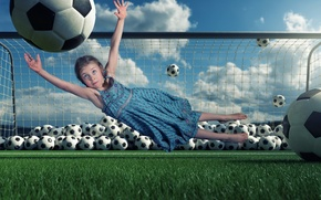 Picture the ball, gate, girl