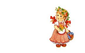 Picture summer, flowers, background, mushrooms, art, girl, basket, wreath, a bunch, children's